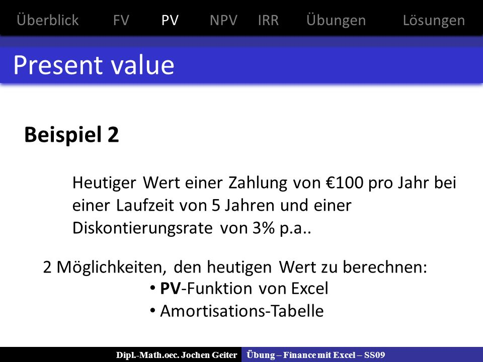 Present value Beispiel 2