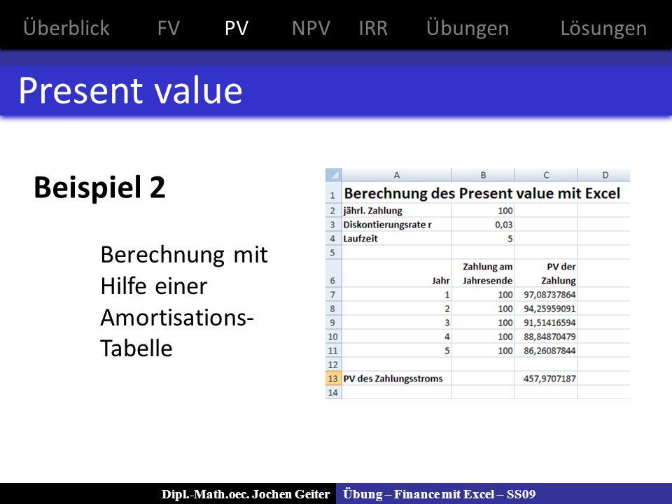 Present value Beispiel 2 Berechnung mit Hilfe einer Amortisations-