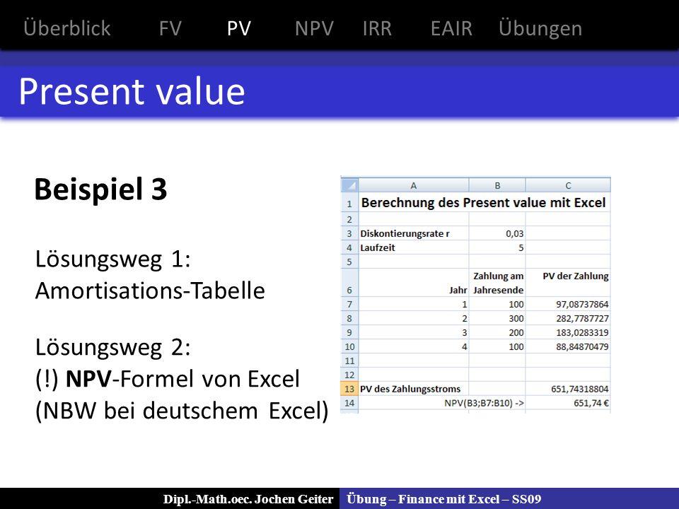 Present value Beispiel 3 Lösungsweg 1: Amortisations-Tabelle