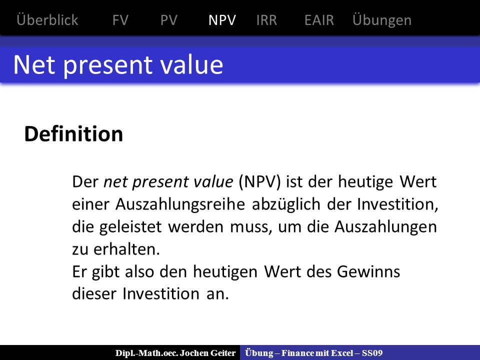 Net present value Definition