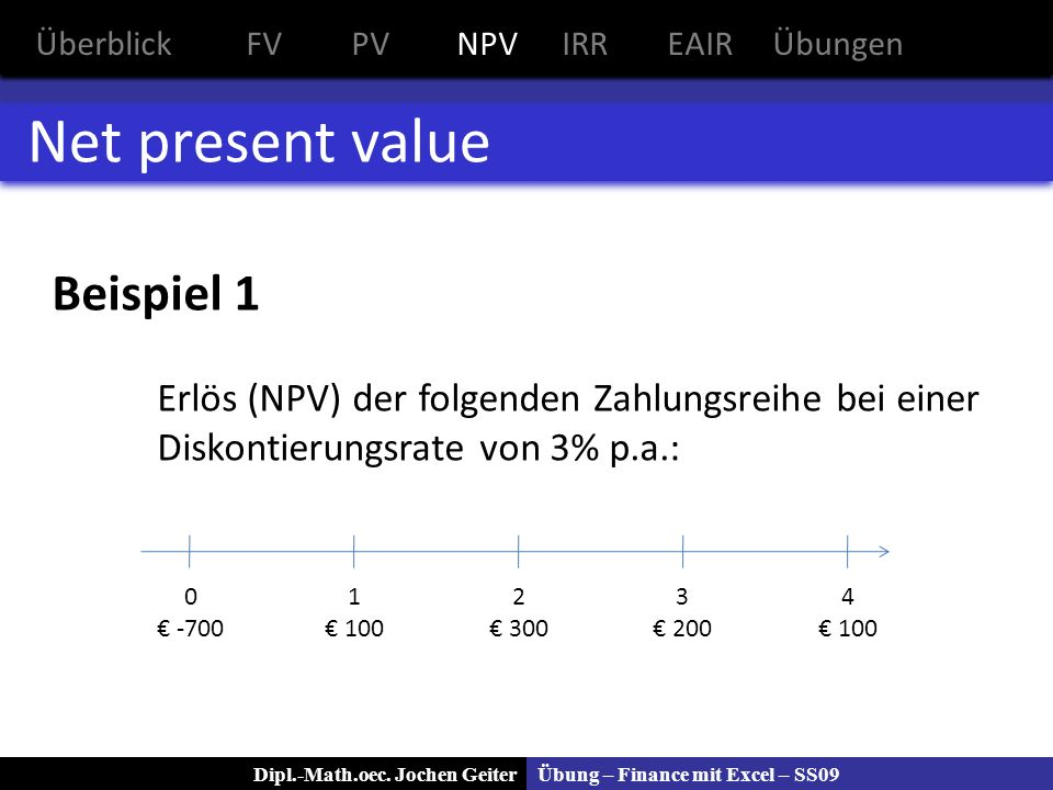 Net present value Beispiel 1