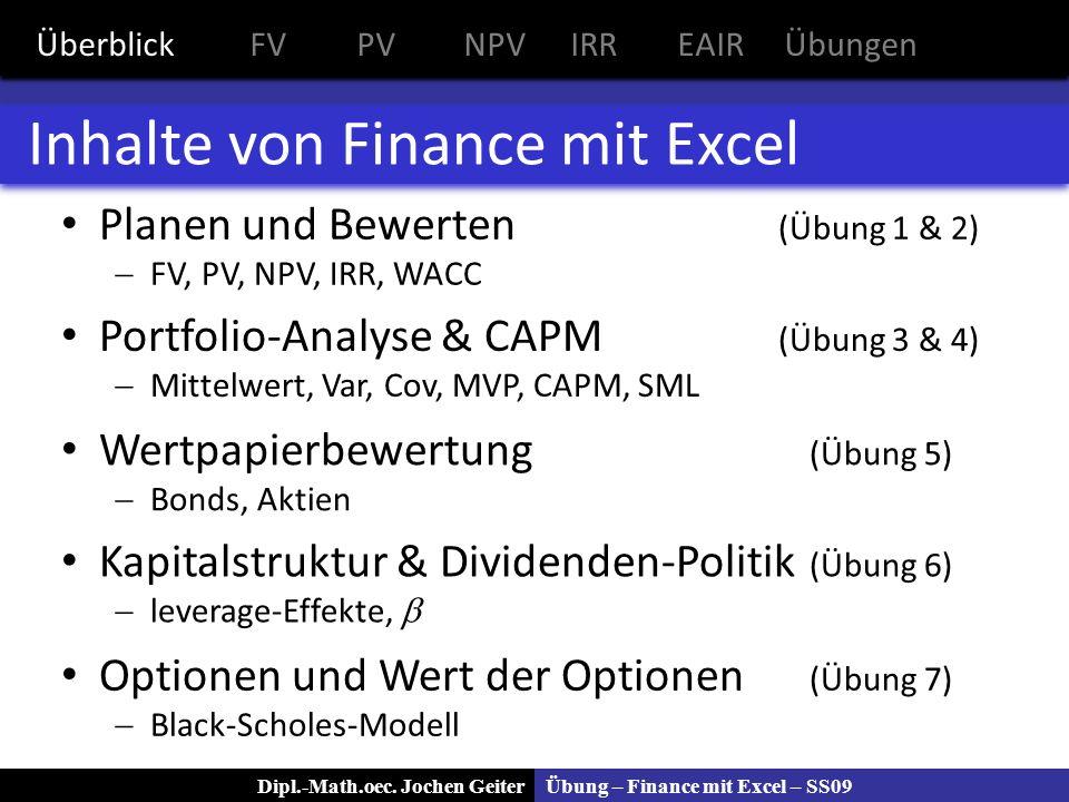 Inhalte von Finance mit Excel