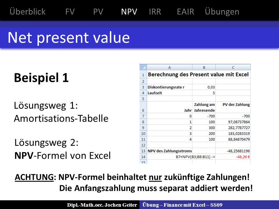 Net present value Beispiel 1 Lösungsweg 1: Amortisations-Tabelle