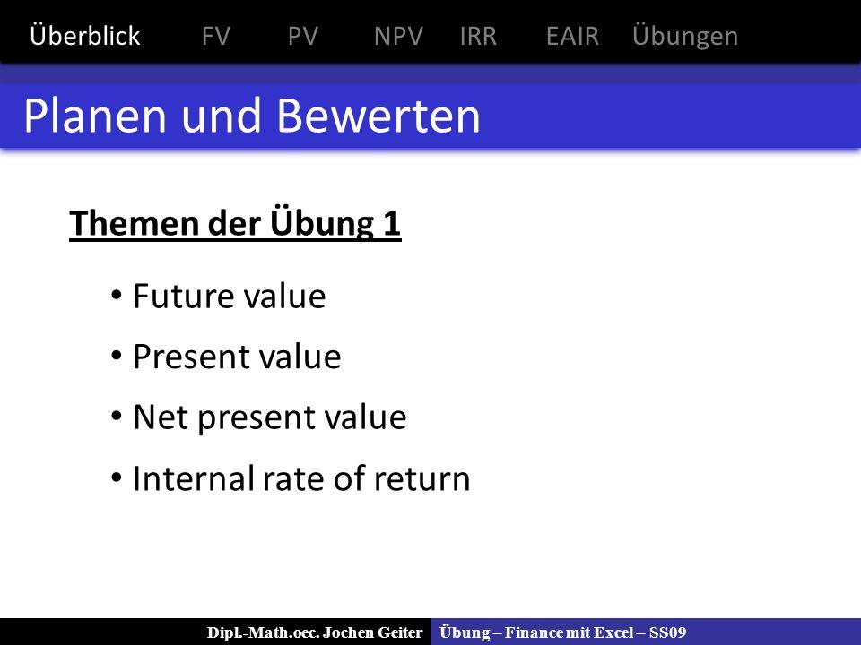 Planen und Bewerten Themen der Übung 1 Future value Present value