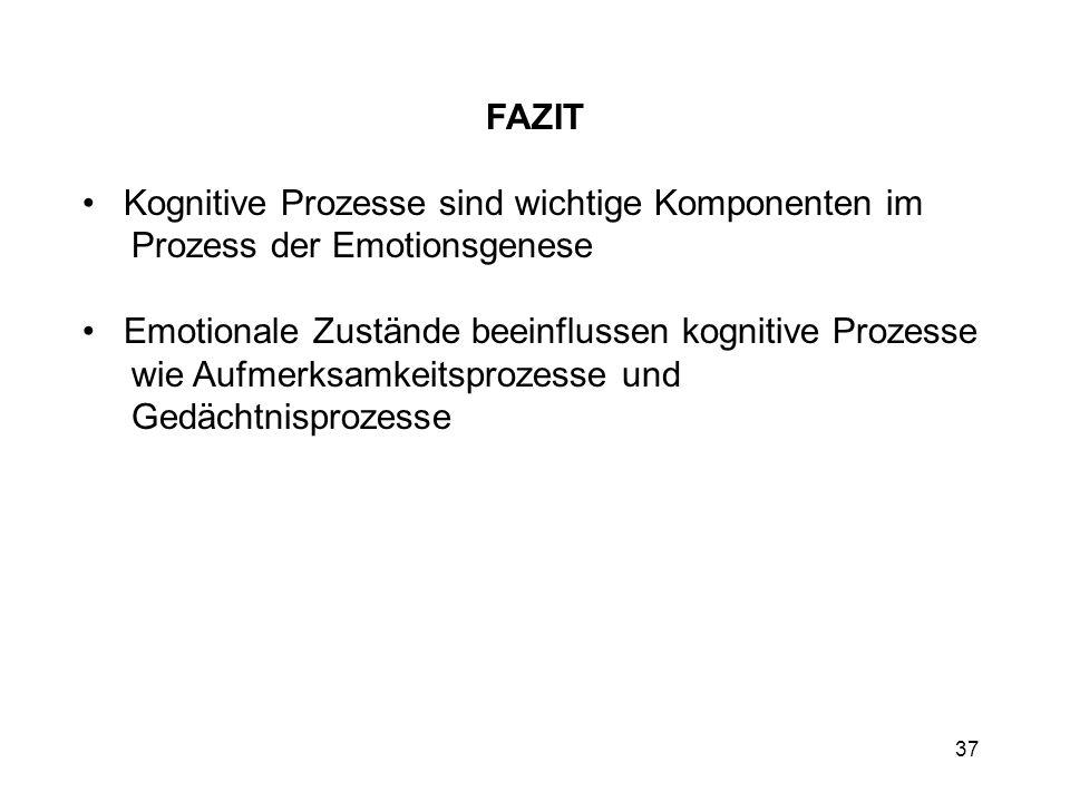 FAZIT Kognitive Prozesse sind wichtige Komponenten im Prozess der Emotionsgenese.