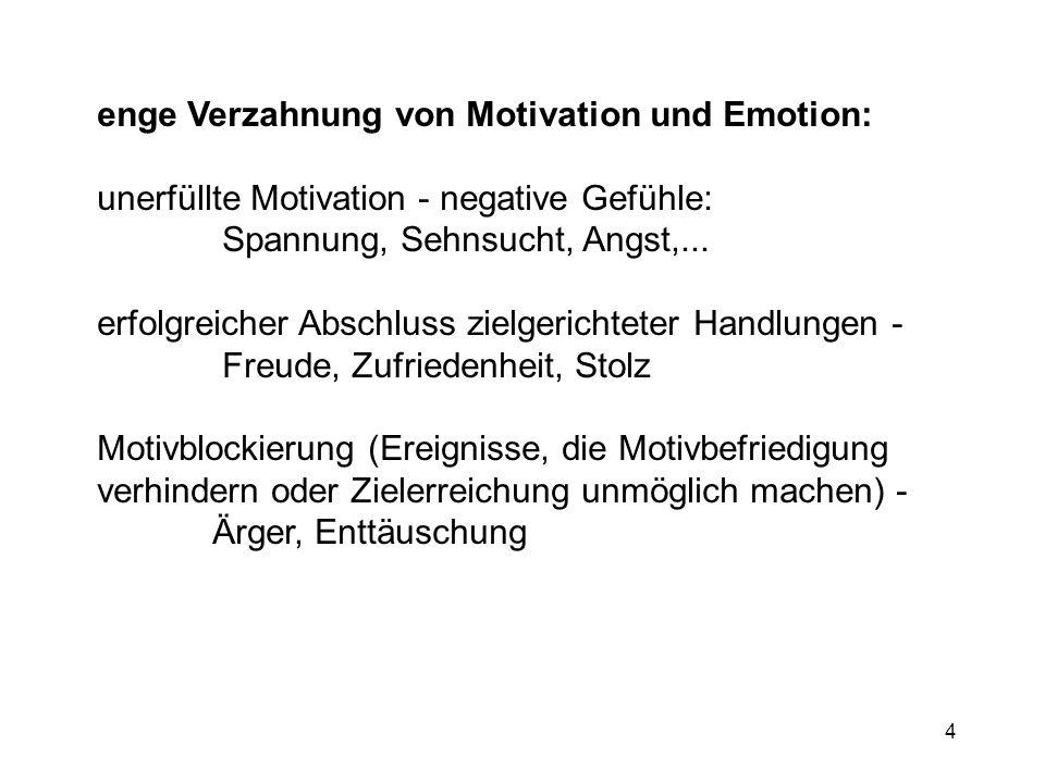 enge Verzahnung von Motivation und Emotion: