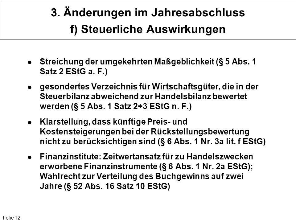 3. Änderungen im Jahresabschluss f) Steuerliche Auswirkungen