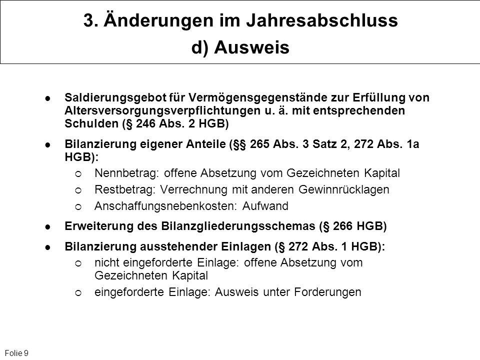 3. Änderungen im Jahresabschluss d) Ausweis