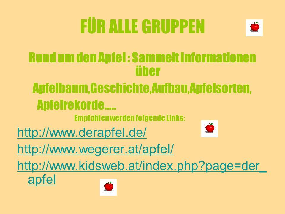 Rund um den Apfel : Sammelt Informationen über