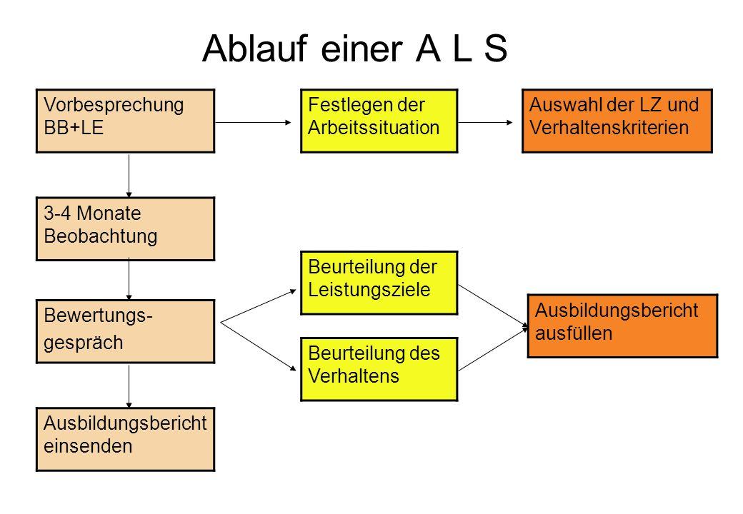 Ablauf einer A L S Vorbesprechung BB+LE Festlegen der Arbeitssituation