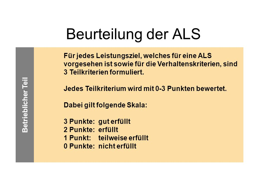 Beurteilung der ALS Betrieblicher Teil.