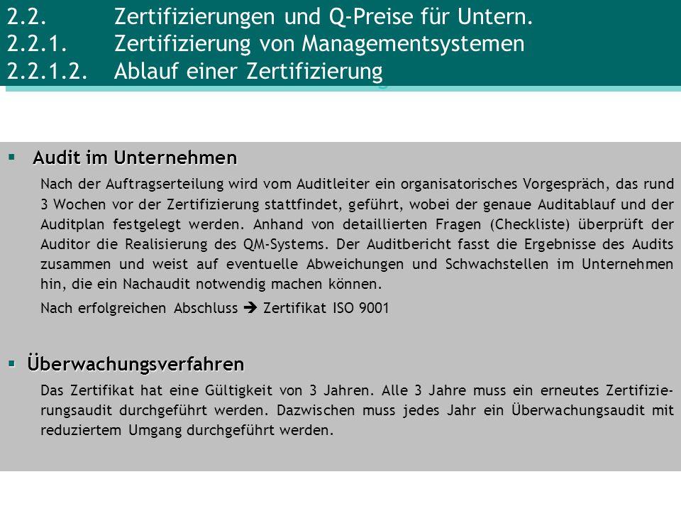 2. 2. Zertifizierungen und Q-Preise für Untern. 2. 2. 1