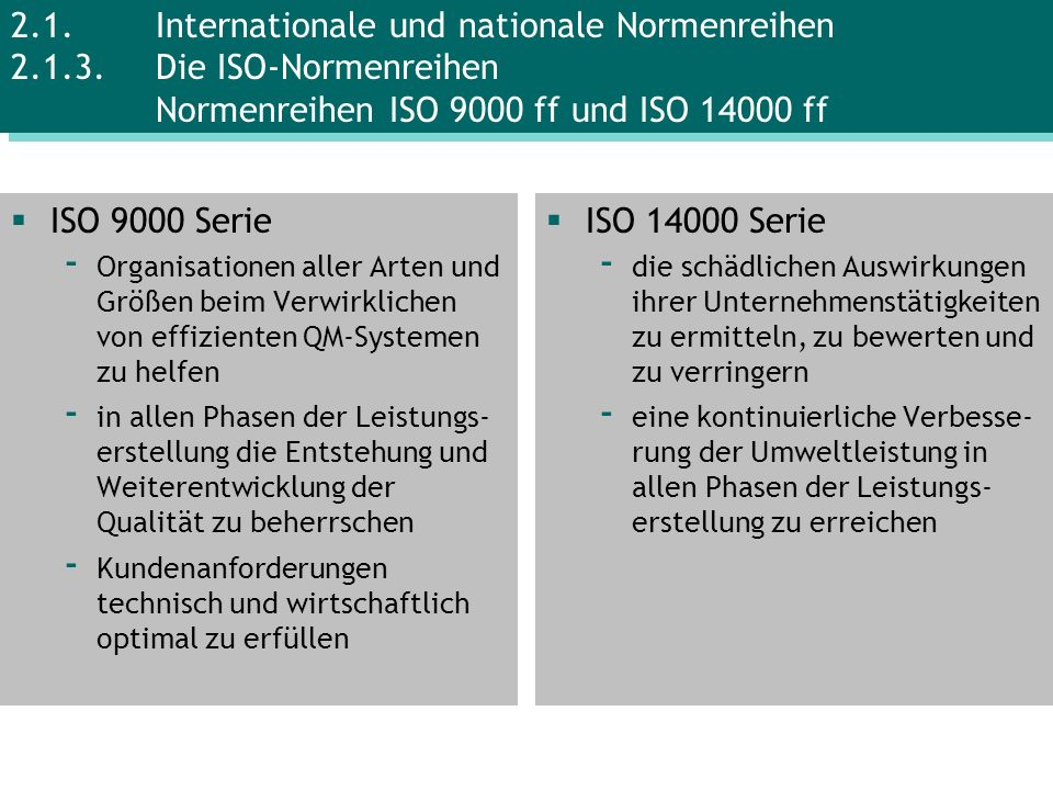 2. 1. Internationale und nationale Normenreihen 2. 1. 3
