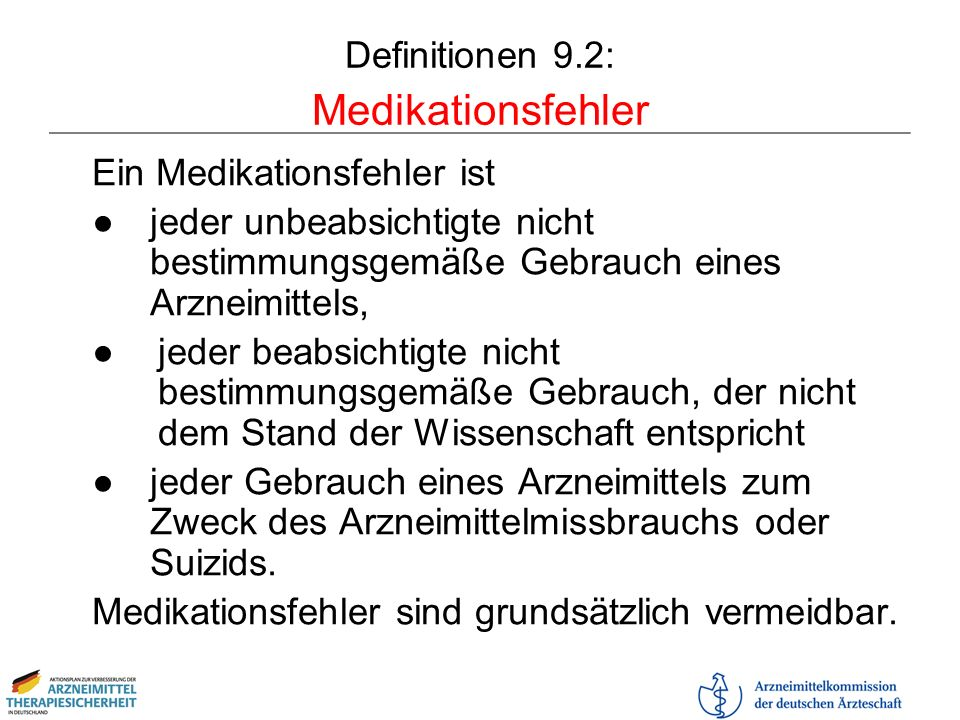 Definitionen 9.2: Medikationsfehler