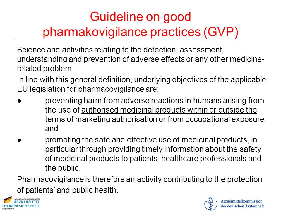 Guideline on good pharmakovigilance practices (GVP)