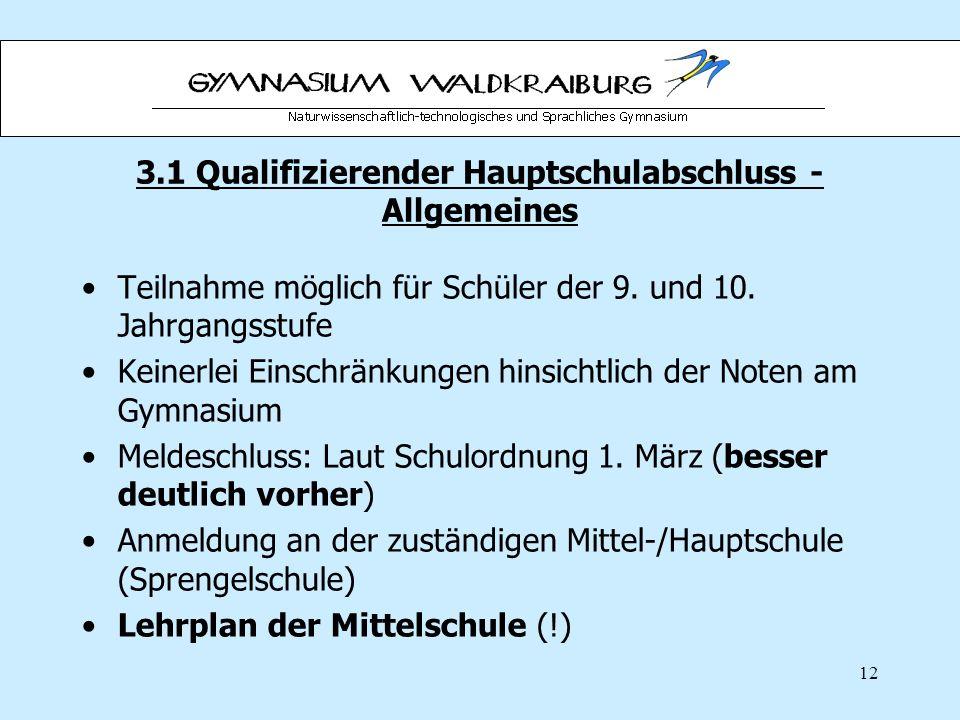 3.1 Qualifizierender Hauptschulabschluss - Allgemeines