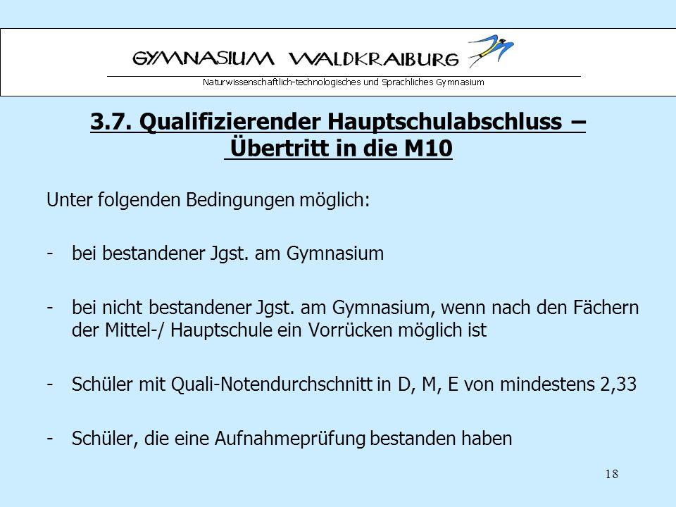 3.7. Qualifizierender Hauptschulabschluss – Übertritt in die M10