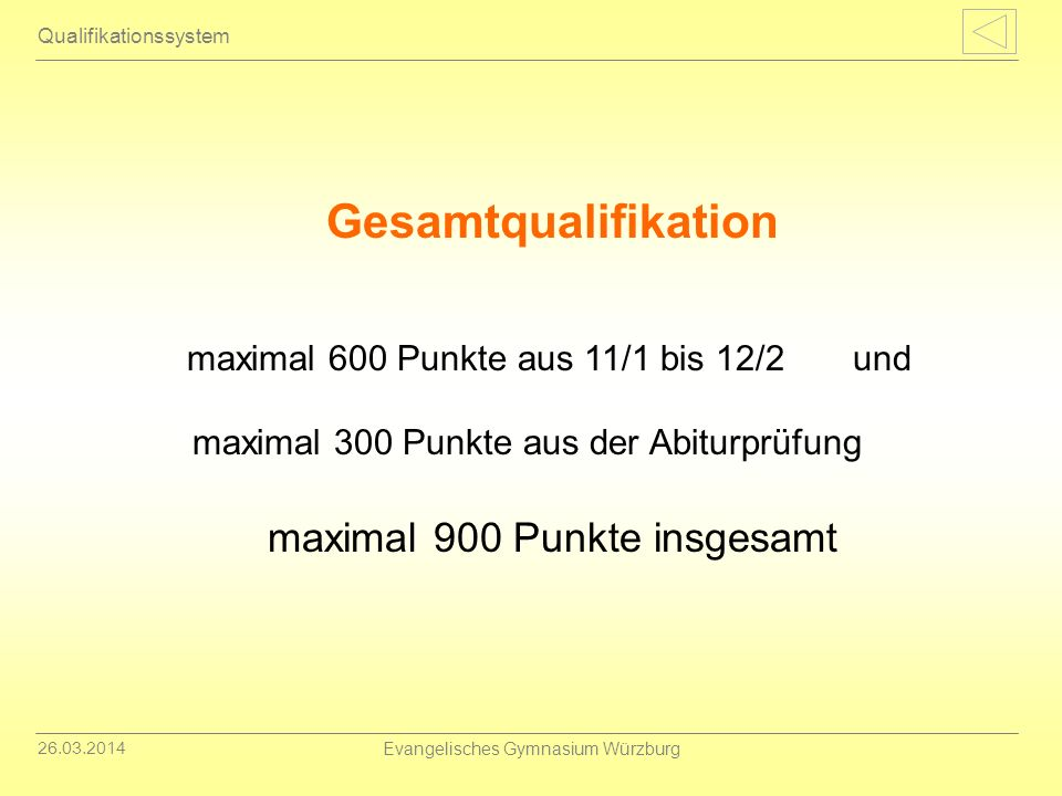 Gesamtqualifikation maximal 600 Punkte aus 11/1 bis 12/2 und