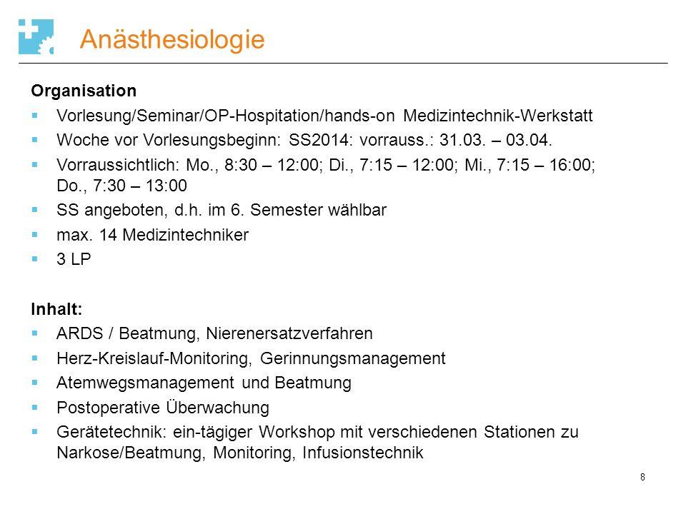 Anästhesiologie Organisation