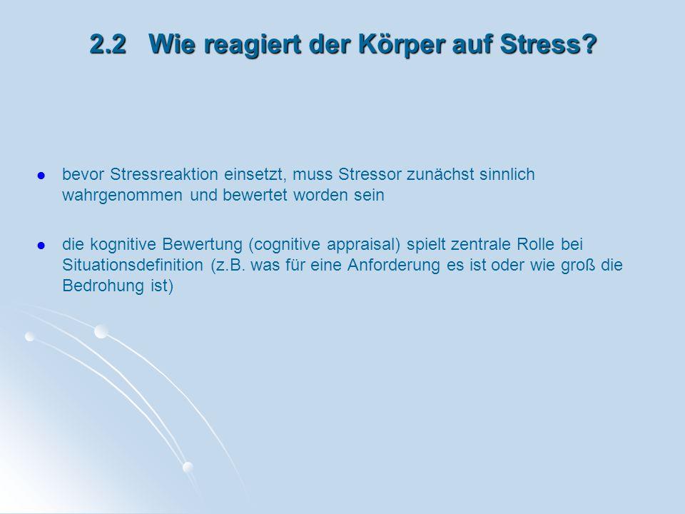 2.2 Wie reagiert der Körper auf Stress