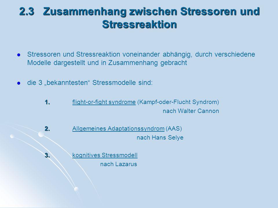 2.3 Zusammenhang zwischen Stressoren und Stressreaktion