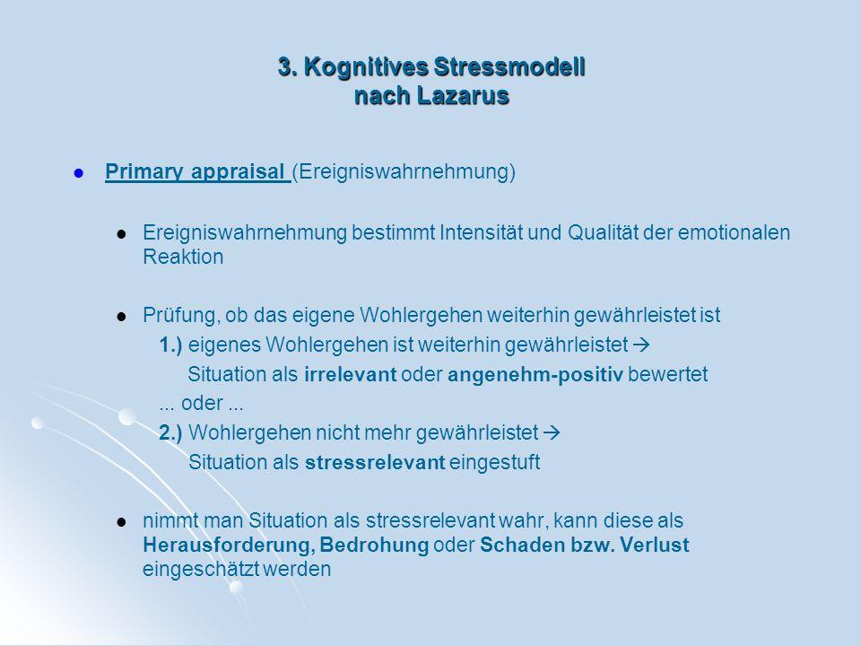 3. Kognitives Stressmodell nach Lazarus