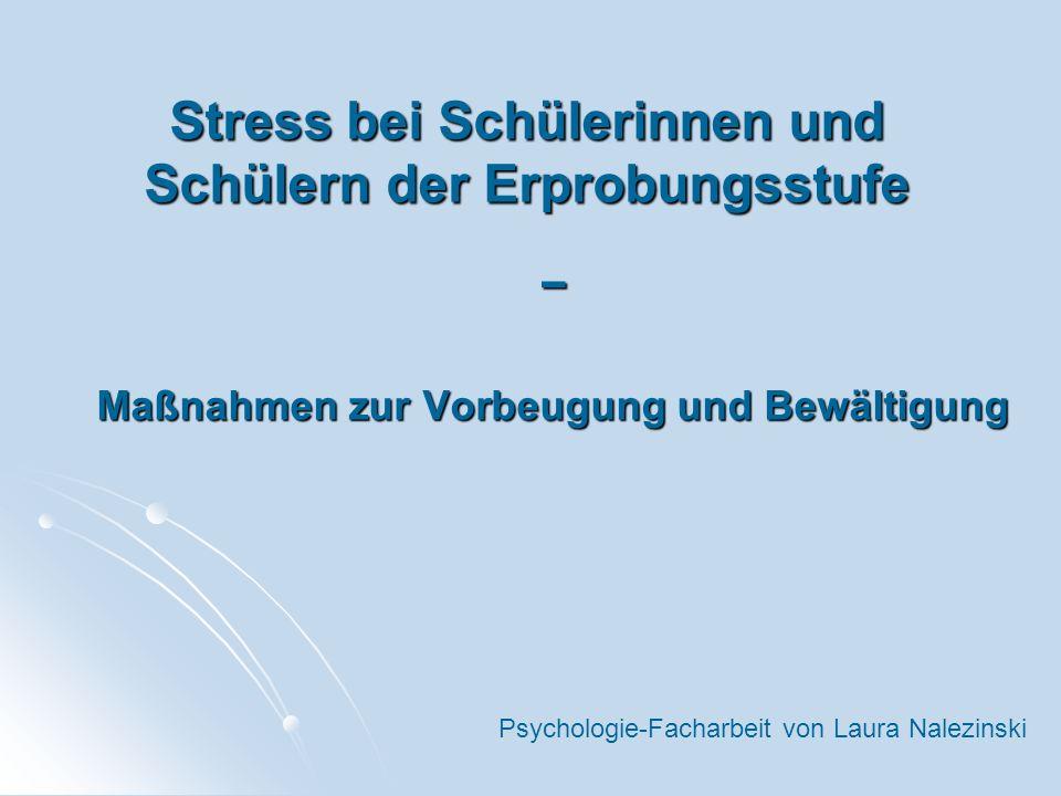Stress bei Schülerinnen und Schülern der Erprobungsstufe