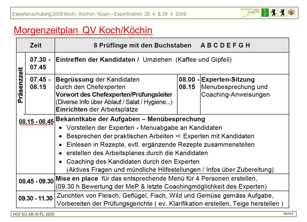 Morgenzeitplan QV Koch/Köchin