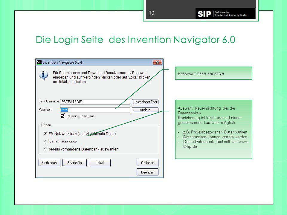 Die Login Seite des Invention Navigator 6.0