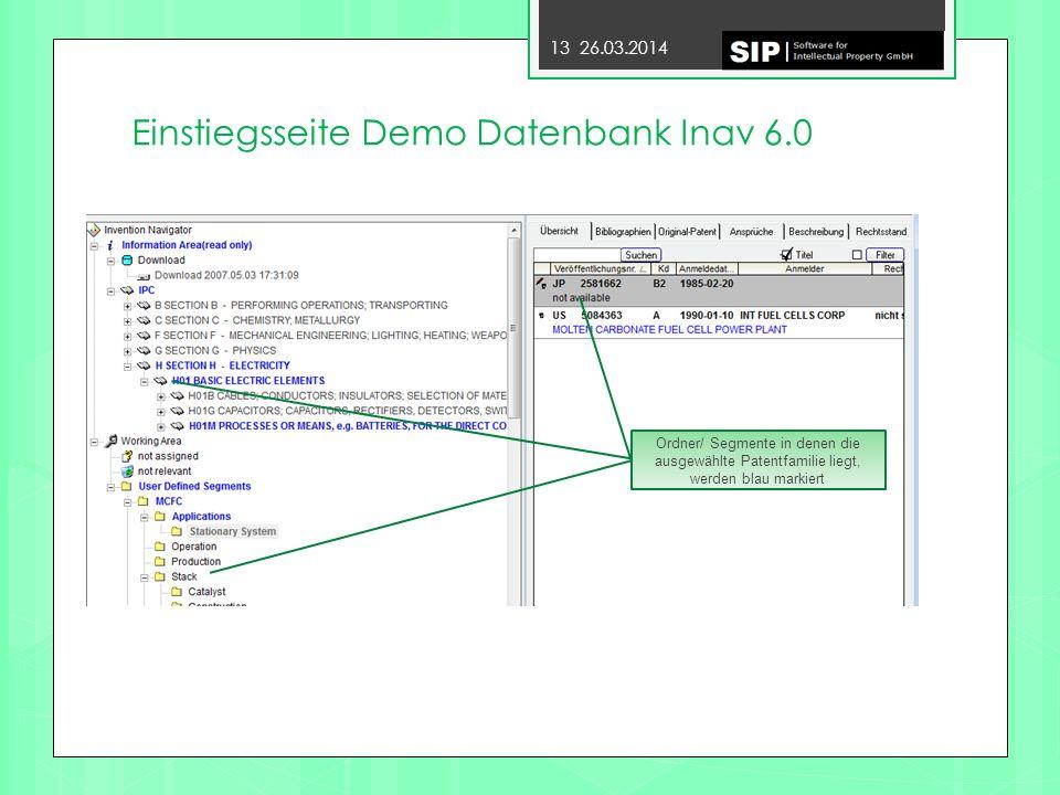 Einstiegsseite Demo Datenbank Inav 6.0