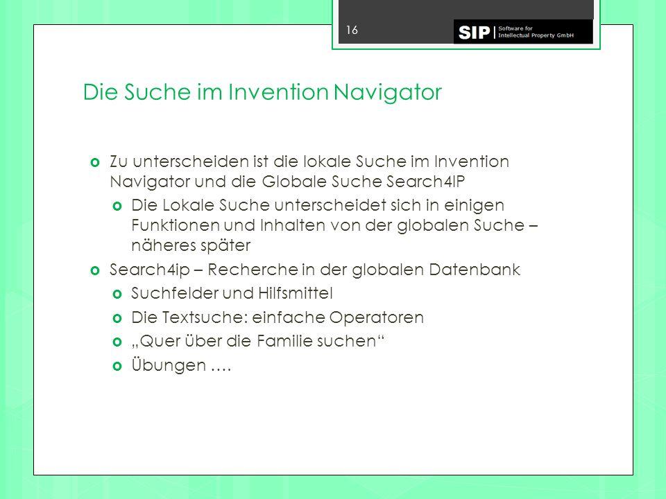 Die Suche im Invention Navigator