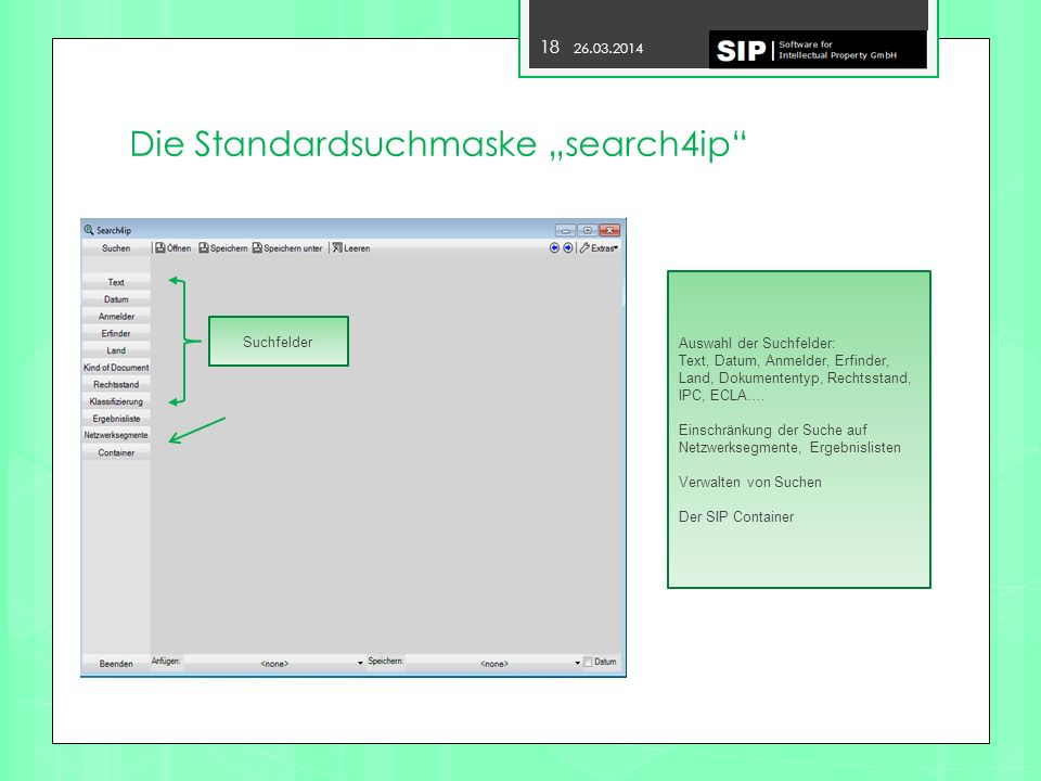 "Die Standardsuchmaske ""search4ip"