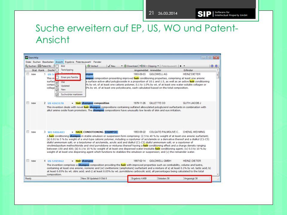 Suche erweitern auf EP, US, WO und Patent- Ansicht