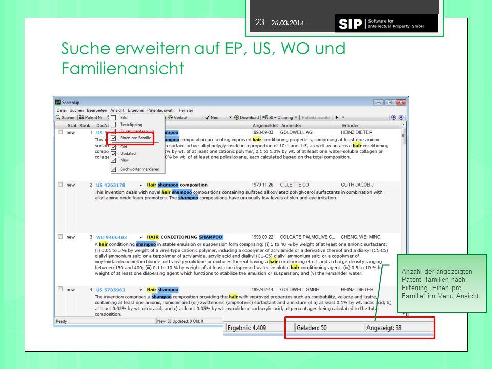 Suche erweitern auf EP, US, WO und Familienansicht
