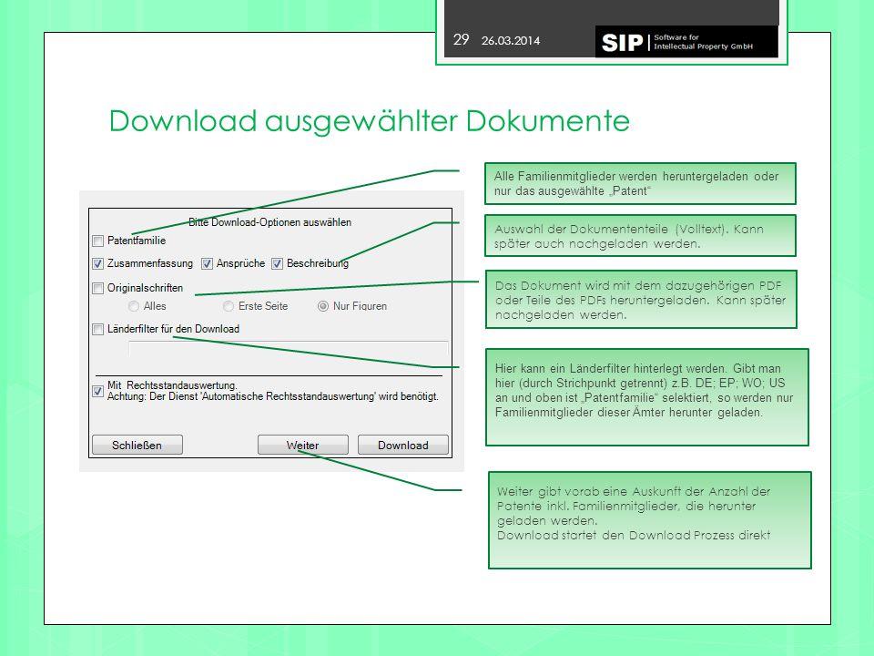 Download ausgewählter Dokumente