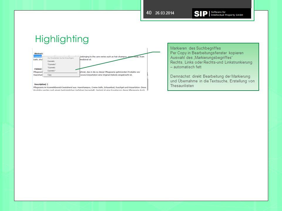 Highlighting Markieren des Suchbegriffes