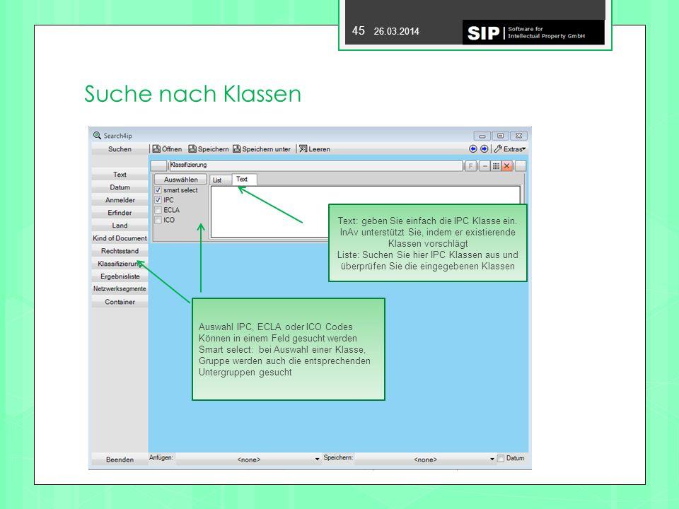 Suche nach Klassen Text: geben Sie einfach die IPC Klasse ein. InAv unterstützt Sie, indem er existierende Klassen vorschlägt.