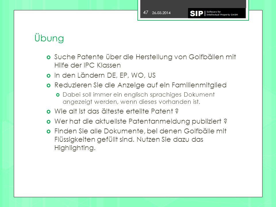 Übung Suche Patente über die Herstellung von Golfbällen mit Hilfe der IPC Klassen. In den Ländern DE, EP, WO, US.