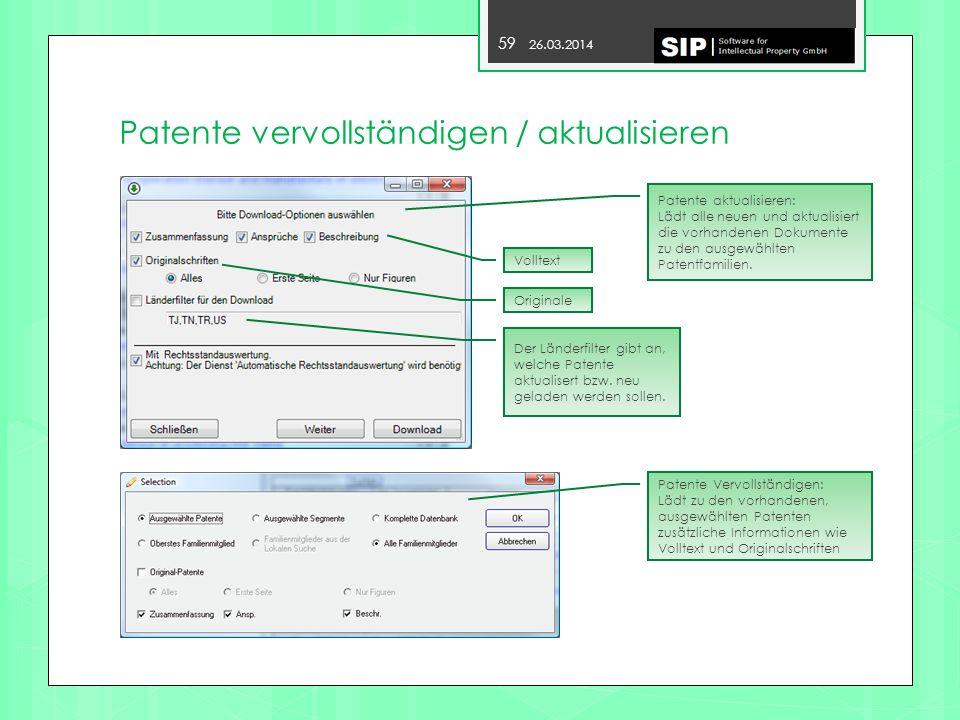 Patente vervollständigen / aktualisieren
