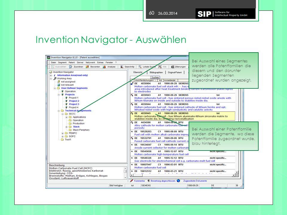 Invention Navigator - Auswählen