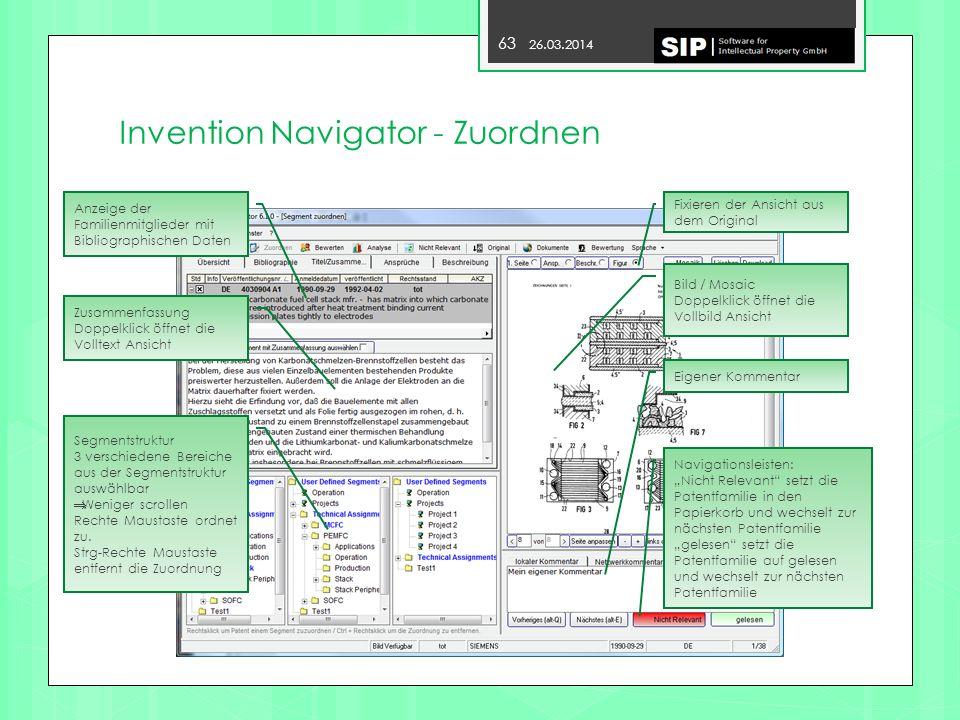 Invention Navigator - Zuordnen