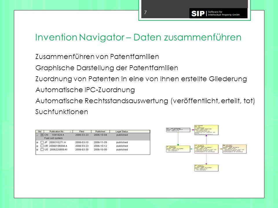 Invention Navigator – Daten zusammenführen