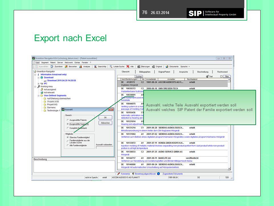 Export nach Excel Auswahl, welche Teile Auswahl exportiert werden soll