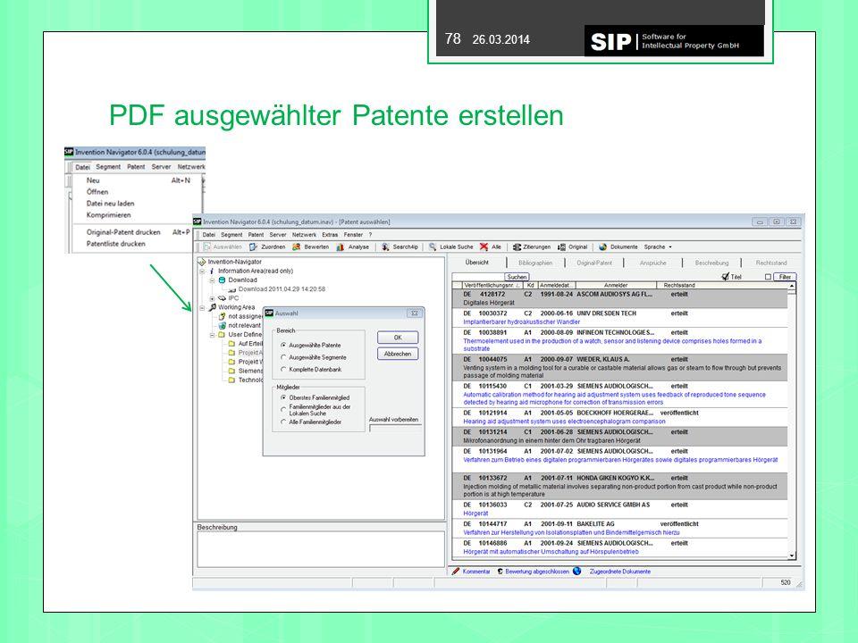 PDF ausgewählter Patente erstellen