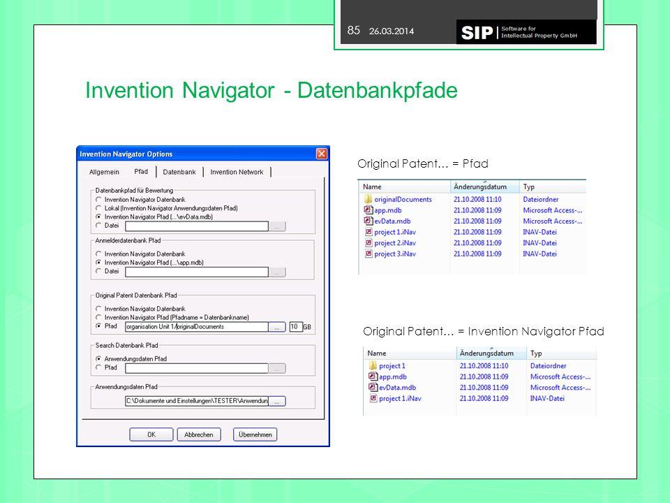 Invention Navigator - Datenbankpfade