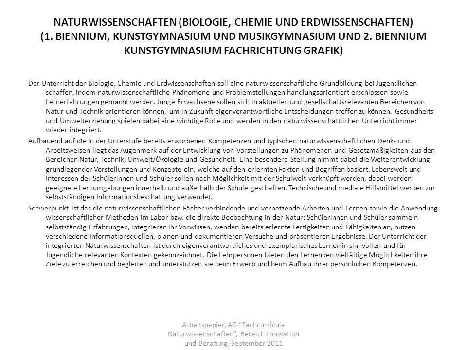 NATURWISSENSCHAFTEN (BIOLOGIE, CHEMIE UND ERDWISSENSCHAFTEN) (1