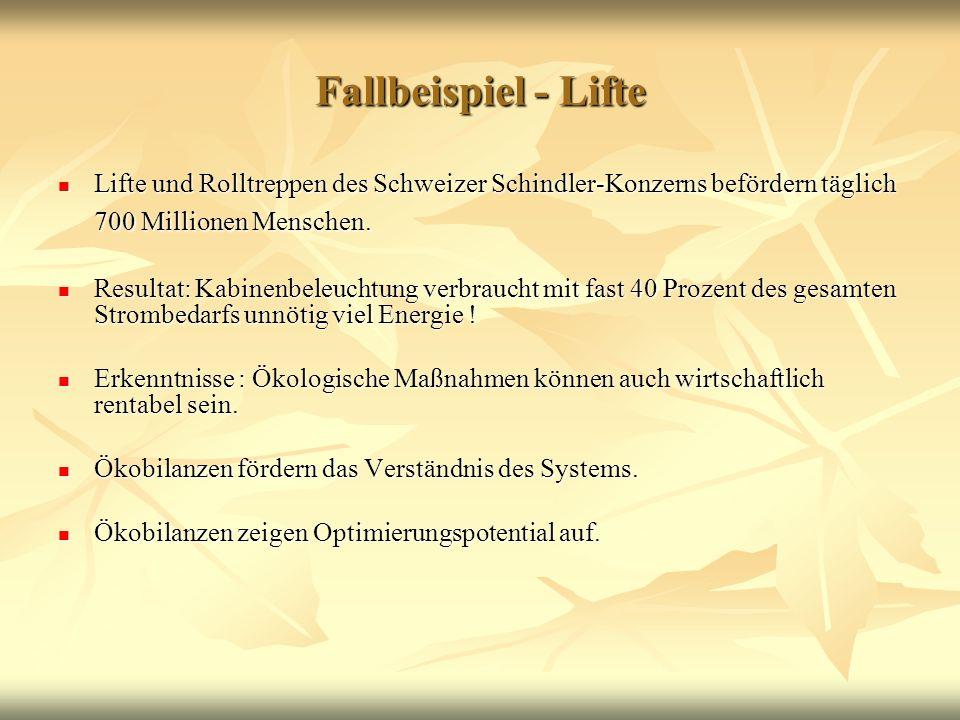 Fallbeispiel - Lifte Lifte und Rolltreppen des Schweizer Schindler-Konzerns befördern täglich 700 Millionen Menschen.