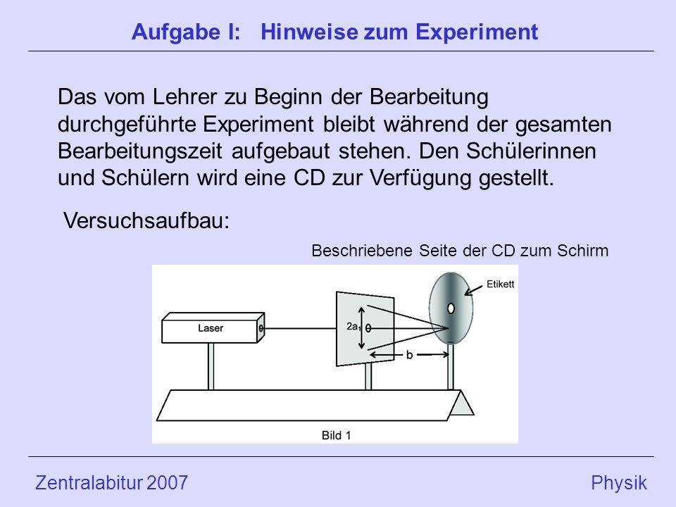 Aufgabe I: Hinweise zum Experiment