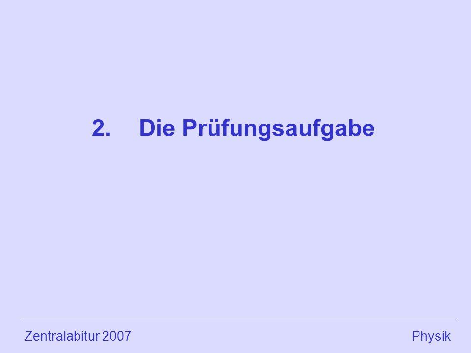 2. Die Prüfungsaufgabe Zentralabitur 2007 Physik.