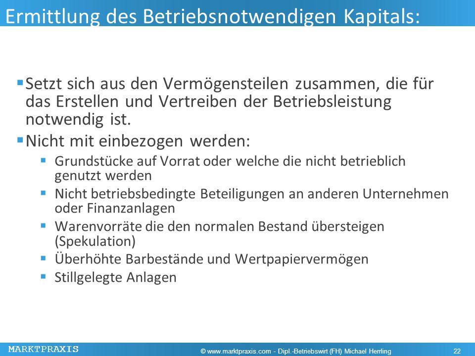 Ermittlung des Betriebsnotwendigen Kapitals: